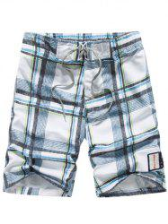 Tartan Pattern Lace-Up Straight Leg Shorts - LIGHT BLUE