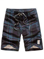 Tartan Pattern Lace-Up Straight Leg Shorts - CADETBLUE