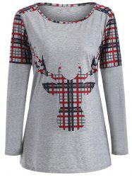 Elk Print Plaid Christmas T-Shirt