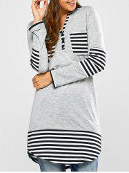 Striped Hem Pocket Tunic T-Shirt