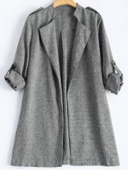 Rolled Cuff Sleeve Plus Size Coat - GRAY