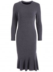 Long Sleeve Fitted Mermaid Midi Sweater Dress - DEEP GRAY L
