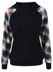 Plaid Trim Single Pocket Hoodie -