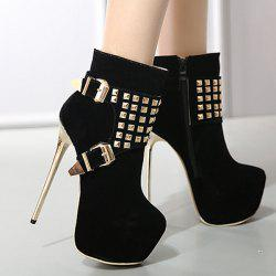 Platform Buckle Rivet Stiletto Heel Boots - BLACK