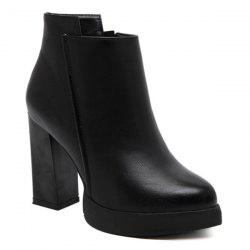 Platform Pointed Toe Chunky Heel Boots