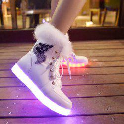 Furry Lace-Up Led Luminous Boots