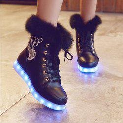 Furry Lace-Up Led Luminous Boots - BLACK