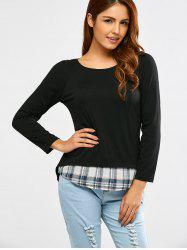 Long Sleeve Faux Twinset Plaid T-Shirt -