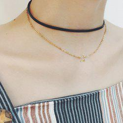 PU Leather Star Layered Choker Necklace
