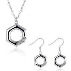 Rhinestone Geometric Jewelry Set - SILVER