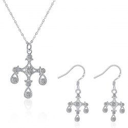 Crucifix Water Drop Jewelry Set