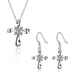 Rhinestone Cross Jewelry Set