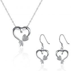Rhinestone Heart Jewelry Set