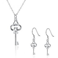 Heart Key Jewelry Set - SILVER