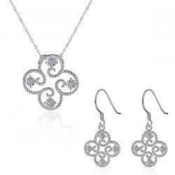 Rhinestone Clover Jewelry Set