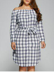 Plus Size Off The Shoulder Plaid Belted Dress -