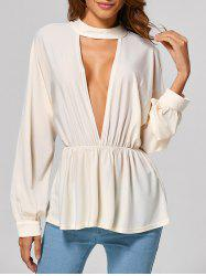 Cut Out Elastic Waist Blouse