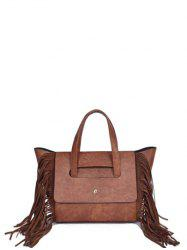 Winged PU Leather Fringe Tote -