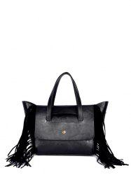 Winged PU Leather Fringe Tote