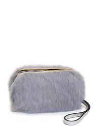 Furry Metal Trimmed Zip Around Evening Bag - GRAY