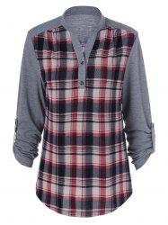 Plaid Patchwork Adjustable Sleeve T-Shirt -
