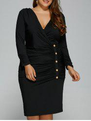 Plus Size Button V Neck Long Sleeved Surplice Ruched Dress