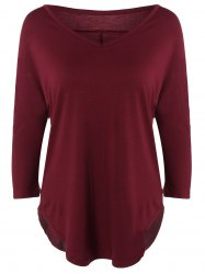 V Neck Batwing Sleeve T-Shirt