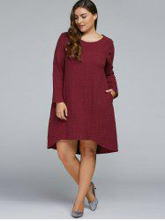 Plus Size Textured Long Sleeve High Low Dress -