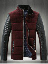 PU-Leather Spliced Velvet Stand Collar Zip-Up Padded Jacket -