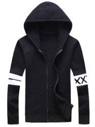 Plus Size Stripe and Graphic Print Hooded Zip-Up Hoodie -