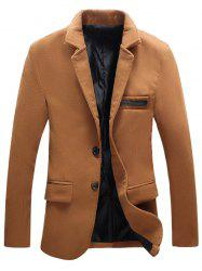 Turndown Collar Single-Breasted PU-Leather Edging Woolen Coat