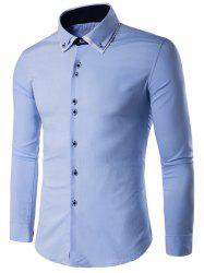 Double Collier Bouton Layered shirt Up manches longues - Bleu