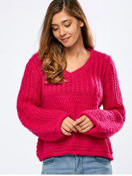 Autumn Balloon Sleeve Crochet Sweater - Rouge Rose Taille Unique
