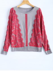 Lace Applique Pullover Sweater -