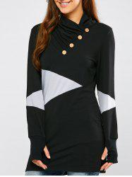 Casual Geometric Mini Sweatshirt Dress - BLACK XL