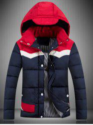 Hooded Color Block Spliced Padded Jacket