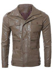 Multi Pocket Zippered Faux Leather Jacket -