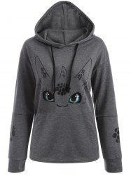 Cartoon Character Graphic Hoodie - GRAY