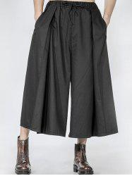 Drawstring Pleated Front Wide Leg Pants