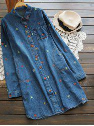 Button Up Longline Embroidered Denim Shirt -