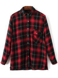 Dragon Embroidered Tartan Pocket Shirt - PLAID L