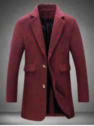 Lapel Collar Flap Pocket Tweed Heather Coat -