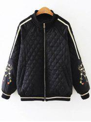 Argyle Embroidered Quilted Bomber Jacket