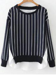 High Low Stripes Spliced Sweatshirt