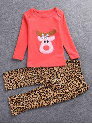 Christmas Deer T-Shirt + Leopard Print Pants - RED