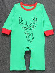 Baby Christmas Deer Printed Jumpsuit - GREEN