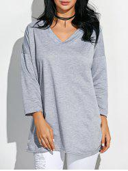 V Neck Lace-Up T Shirt - LIGHT GRAY ONE SIZE