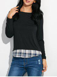 Plaid Panel T-Shirt - BLACK XL