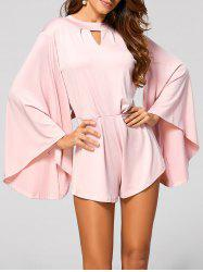Cut Out Flare Sleeve Fitting Romper - PINK