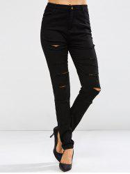 Pockets Distressed Jeans - BLACK